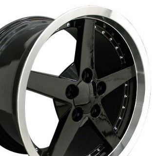 10.5 Black Corvette C6 StyleWheel / Rim with Machined Lip and Rivets