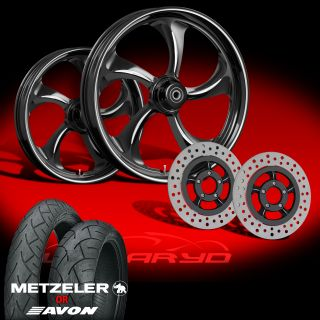 Wanaryd Rollin Black 21 Wheels Tires Dual Rotors for 2000 08 Harley