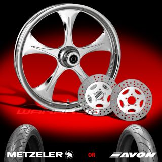 Stratos Chrome 21 Front Wheel, Tire & Dual Rotors for 2000 13 Harley