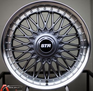 606 RS Style 5x100 5x114 3 Gun Metal Machined Rim Wheel 5x4 5