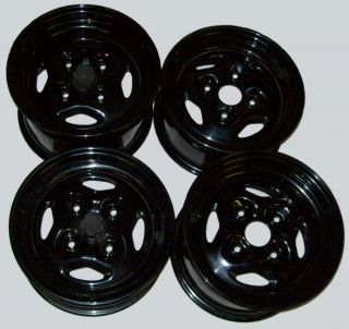 Four 4 Wheels Black Steel ATV Wheel Kit Front Rear Bike Rim Set 4 110