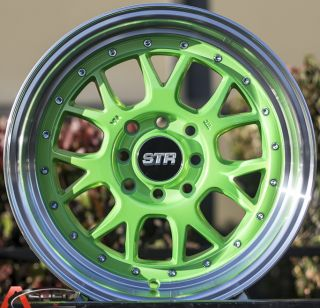 15x8 5 Str 502 4x114 3 Green Machined Lip Wheel Fit Datsun 240Z 260z