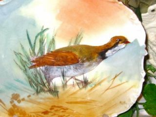 Limoges France Hand Painted Game Bird Plate Artist Signed Ken C 1890S