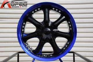 18X7.5 G LINE G552 WHEEL 5X100/114.3 +40 BLACK BLUE RIM FITS RSX TSX