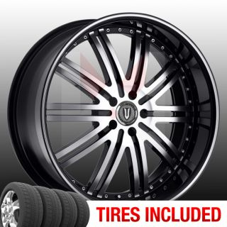 Set of 4 New 22 Versante 212 5x115 15 Wheels Tires Rims Black