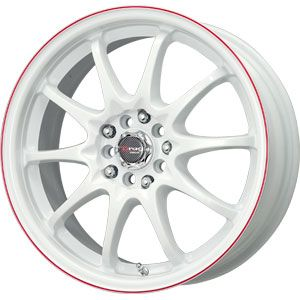 New 17X7 4 100/4 114.3 Dr 9 White With Red Stripe Wheels/Rims
