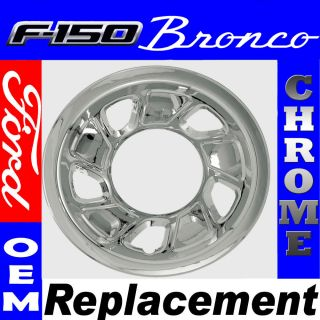 PC 92 96 Ford Bronco F150 Truck 15 Chrome Wheel Skin Hubcap Cover
