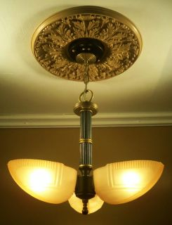 30s Art Deco Slip Shade Ceiling Light Fixture Chandelier