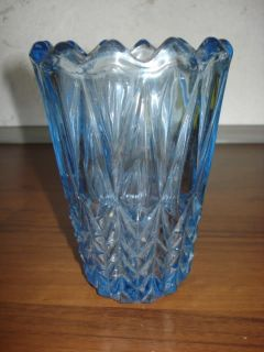 Antique Blue Depression Glass Vase Blue