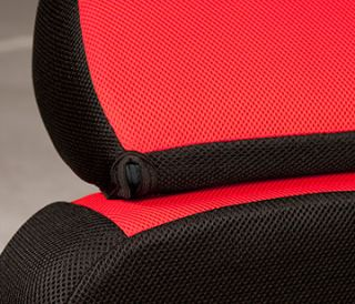 11pc Red Black Mesh Seat Covers Steering Wheel Cover Interior Set CS1