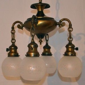Antique Brass Bronze Japanned Victorian Chandelier 4ARM Ceiling Light
