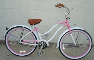 New 26 Aluminum Alloy Frame Beach Cruiser Bicycle Bike White Lady for