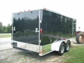 7x16 Enclosed ATV Cargo Motorcycle Trailer Black w Anodized V Nose and