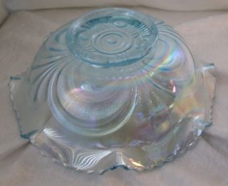 Ice Blue Carnival Rainbow Glass Ruffle Bowl 8