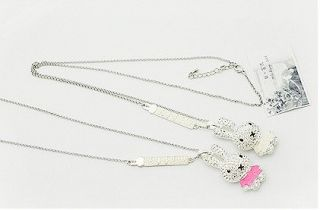 Gk4511 New Fashion Jewelry Womens Crystal Rabbit Necklace Chain pink