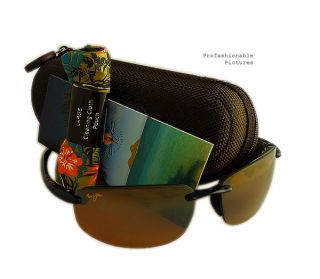 NEW 2012 MAUI JIM HOOKIPA BLACK FRAME BRONZE POLARIZED LENS H407 02 MJ