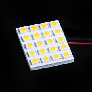 20 SMD 5050 LED Car Interior Light Panel T10 Dome BA9S Adapter Warm