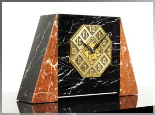 Unique 1920s French ART DECO High Style MANTEL CLOCK Bronze & Marble