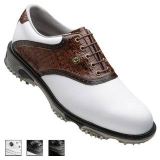 Mens DryJoys Tour Saddle Golf Shoes White/Black Lizard 10 Shoes