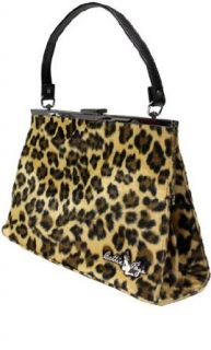 Sourpuss Bettie Page Leopard Daphne Purse Handbag