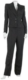 Armani Womens Three Button Pant Suit, Black/White, Size