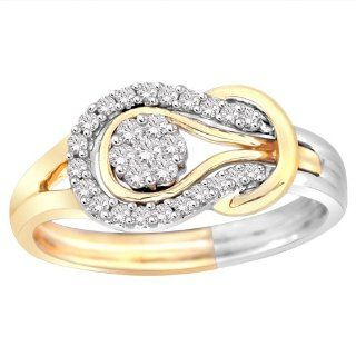 14k Two Tone White and Yellow Gold Love Knot Diamond Ring