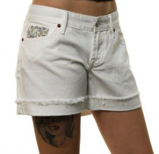 Lucky Brand Jeans Womens White Short Inseam Denim Shorts