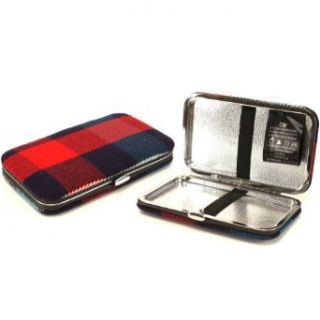 Ladies Wallet Business ID Card Holder Case Plaid Navy Blue