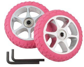 Action Pink Replacement Wheels with Aluminum Rim for Razor