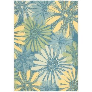 Blue Floral Indoor/ Outdoor Rug (10 x 13)
