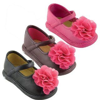Wee Squeak Baby Toddler Girls Black Brown Pink Flower Strap Shoes 3 12