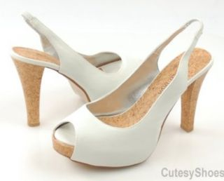 WILD DIVA Becca White Slingback Pumps , 8 Shoes