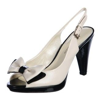 AK Anne Klein Womens Enigma Ivory and Black Slingback Dress Pumps