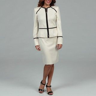 Anne Klein Womens Ivory Skirt Suit
