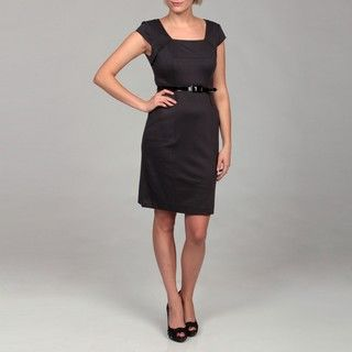 Adrianna Papell Womens Pewter Belted Dress