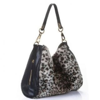 Black Leather/Faux Leopard Print Fur Hobo Clothing