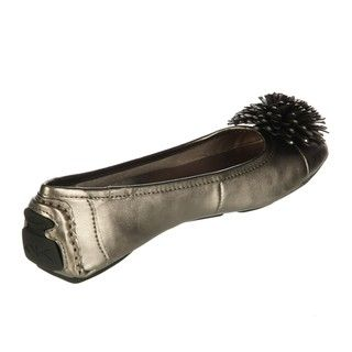 Anne Klein Womens BamBam Pewter Ornamented Flats