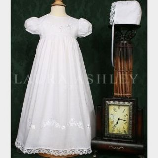 Baby Girls White Embroidered Lace Baptism Gown Dress 3M
