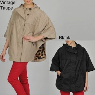 Hilary Radley Womens Zip front Hooded Cape