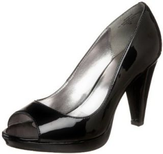 Anne Klein Womens Evalyn Peep Toe Pump,Black Patent,6.5 M US Shoes
