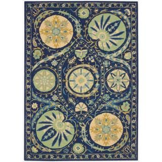 Hand tufted Suzani Blue Floral Medallion Rug (8 x 106)