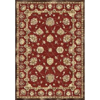 Hand carved Alexa Velvet Persiana Red Faux Silk Rug (53 x 76