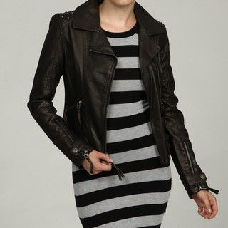 Miss Sixty Womens Black Faux Leather Asymmetrical Motorcycle Jacket