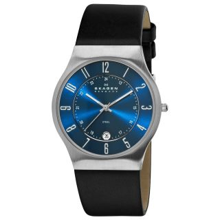 Skagen Mens Blue Dial Leather Strap Multifunction Watch
