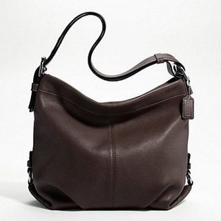 Coach Silvertone Mahogany brown Solid pebbled Leather Shoulder Bag