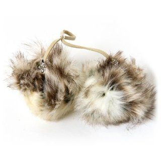 Womens Cream Rabbit Faux Fur Accessories Boot Pom Poms Huggrz Shoes