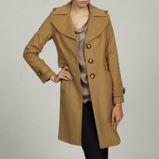 Michael Kors Womens Camel Wool Blend Single Breasted Coat