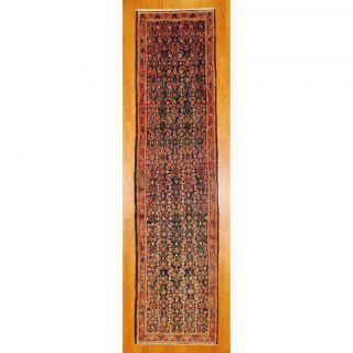 Persian Hand knotted Hamadan Navy/ Peach Wool Rug (35 x 136