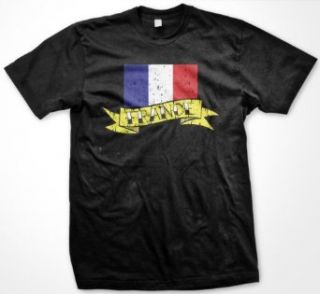 France Flag and Banner Tattoo Style Design Mens T shirt