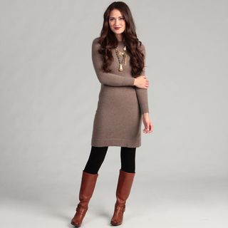 Cullen Womens Cashmere Long sleeve Crew Neck Sweater Dress